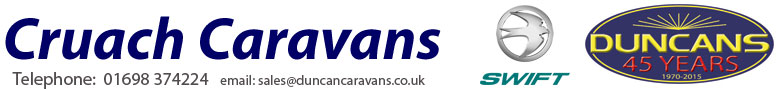 Cruach Caravan range for sale at Duncan Caravans. Telephone 01698 374224